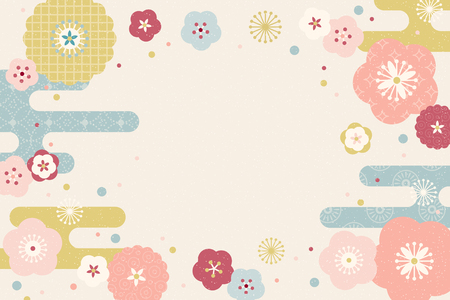 Lovely flat design flowers background with copy space Çizim