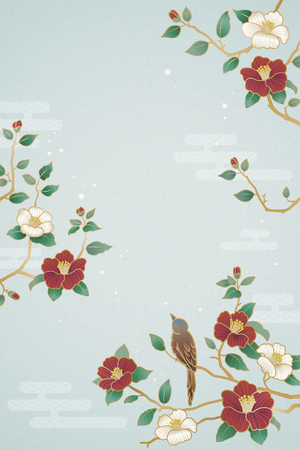 Graceful lunar year poster with bird and camellia decorations on blue background