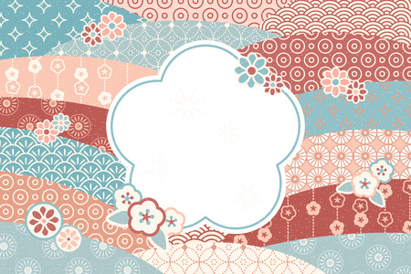 Cute traditional flat flowers pattern with blank copy space for greeting words