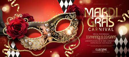 Mardi gras carnival banner design with half mask in 3d illustration on red background