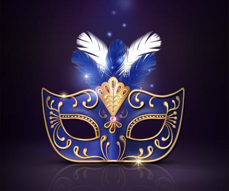 Masquerade decorative blue mask in 3d illustration on purple background