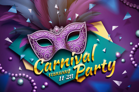 Carnival party design with decorative mask and beads in 3d illustration