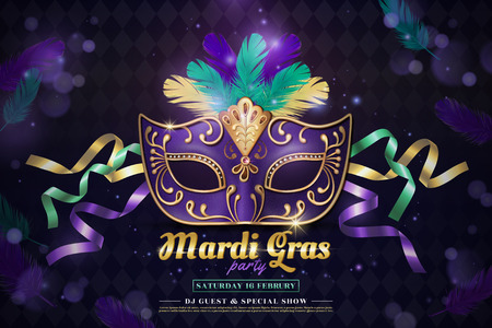 Mardi gras party design with purple half mask and feathers in 3d illustration on shimmering background