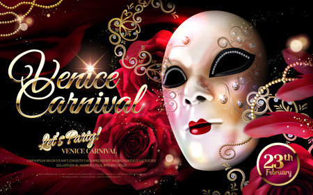 Venice Carnival design with white decorative mask in 3d illustration, roses glittering background