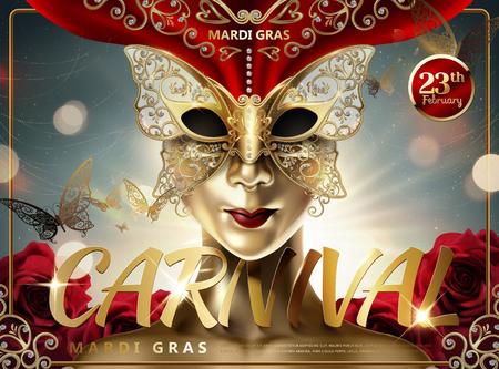Diseño de carnaval de Mardi Gras con personas de piel dorada con máscara facial de mariposa en la ilustración 3d