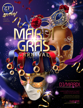 Mardi gras carnival design with clown mask in 3d illustration on bokeh purple glittering background Illustration
