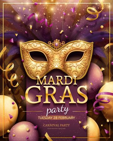 Plakat imprezowy Mardi gras ze złotą maską i dekoracjami konfetti na ilustracji 3d