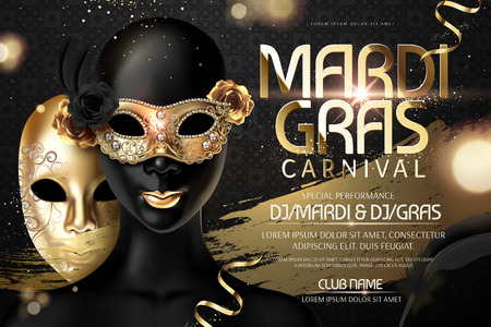 Mardi gras carnival design with golden mask in 3d illustration on black background  イラスト・ベクター素材