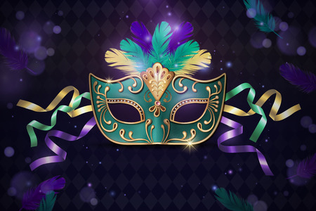 Masquerade decorative mask in 3d illustration on purple background
