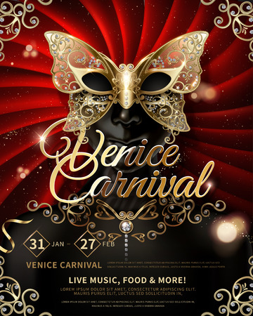 Venice Carnival poster design with butterfly facial mask on red curtain background in 3d illustration