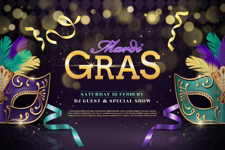 Mardi gras party design with half mask and feathers in 3d illustration on shimmering background Illustration