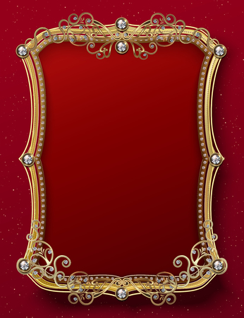 Sumptuous golden frame template with diamonds on red background
