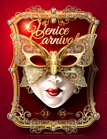 Venice Carnival poster design with butterfly facial mask and sumptuous golden frame in 3d illustration