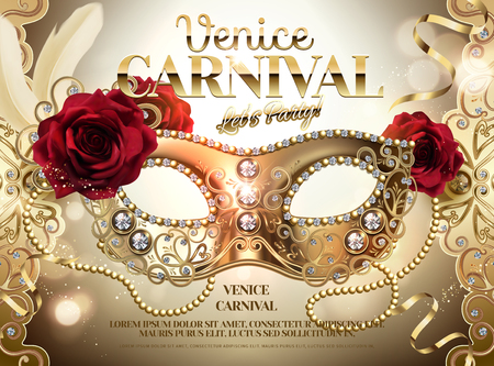 Karneval in Venedig Design mit Strass-Halbmaske und Rosen in 3D-Darstellung, goldener Farbhintergrund Vektorgrafik