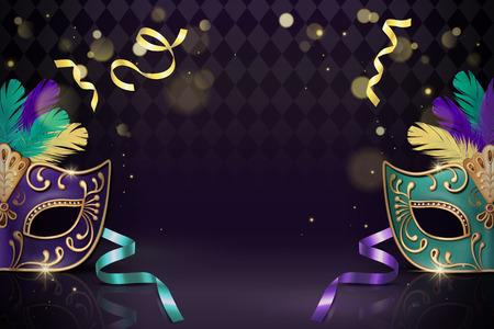 Masquerade decorative mask in 3d illustration on purple background 写真素材 - 115206303