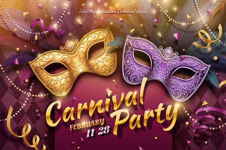 Diseño de fiesta de carnaval con máscaras decorativas y abalorios en ilustración 3d