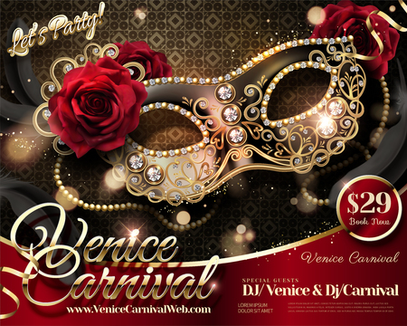 Diseño del Carnaval de Venecia con media máscara de diamantes de imitación y rosas en la ilustración 3d
