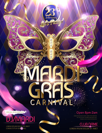 Mardi gras carnival design with butterfly mask in 3d illustration, glittering bokeh background Stock Illustratie