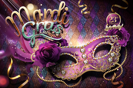 Mardi gras carnival design with purple rhinestone half mask in 3d illustration, shimmering rhombus background 일러스트