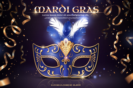 Mardi gras party design with blue half mask and golden confetti in 3d illustration