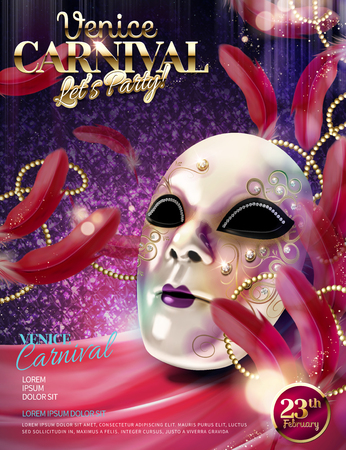 Venice Carnival design with white decorative mask in 3d illustration on purple glittering background Ilustracja