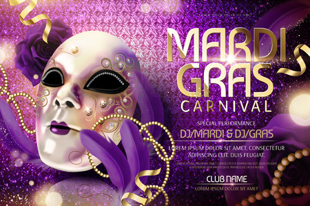 Mardi gras carnival design with mask and feathers in 3d illustration, shimmering purple background Ilustracja