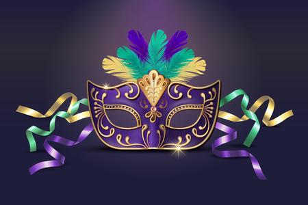 Maschera viola decorativa in maschera in illustrazione 3d Vettoriali