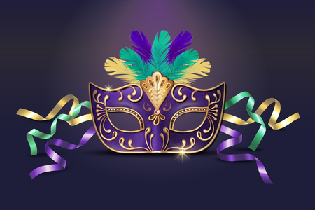 Masquerade decorative purple mask in 3d illustration Иллюстрация