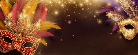Máscaras brillantes de carnaval con banner de plumas en ilustración 3d