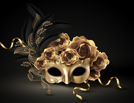 Golden carnival mask with roses and feathers in 3d illustration