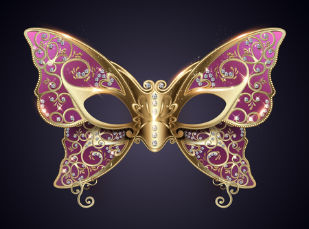 Purple carnival butterfly mask with diamonds in 3d illustration