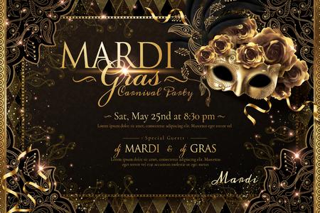 Diseño de carteles de carnaval de Mardi Gras con máscara dorada y rosas en ilustración 3d, fondo brillante