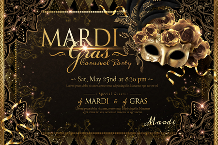 Mardi gras carnival poster design with golden mask and roses in 3d illustration, sparkling background