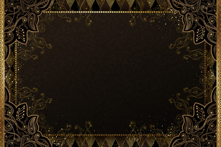 Elegant golden line plant background with copy space