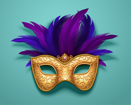 Golden carnival mask with purple feathers decorations on blue background, 3d illustration