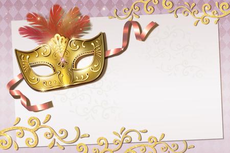 Mardi Gras party invitation design with golden mask in 3d illustration, pink background 版權商用圖片 - 126093172