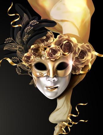 Máscara de carnaval con rosas doradas y gasa sobre fondo negro en ilustración 3d