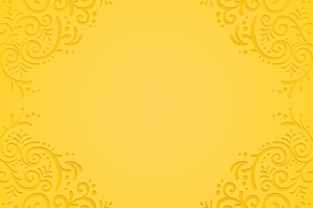 Yellow embossed plant vine background for design uses Illustration