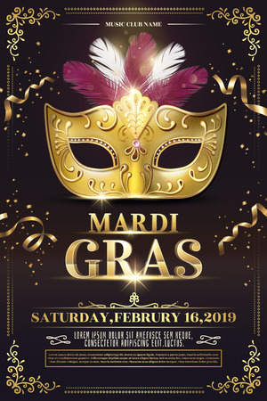 Mardi Gras party poster design with golden mask in 3d illustration