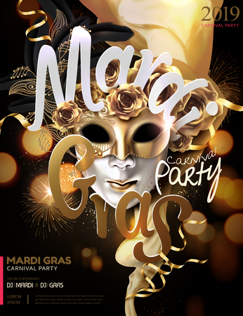 Mardi gras carnival poster design with golden mask and roses in 3d illustration, bokeh glowing background