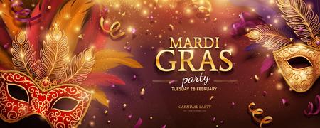 Diseño de banner de fiesta de Mardi Gras con máscaras doradas y plumas en ilustración 3d, fondo de confeti y serpentinas Ilustración de vector