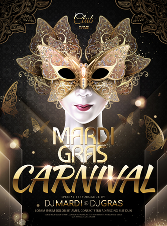 Mardi gras carnival poster design with butterfly golden mask in 3d illustration