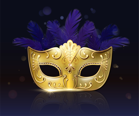 Carnival golden mask with purple feather in 3d illustration