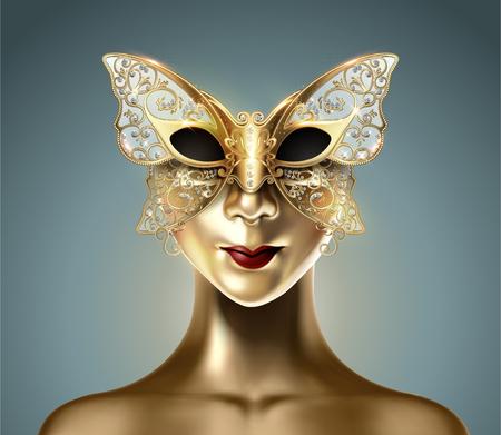 Golden dummy model wearing carnival butterfly mask in 3d illustration