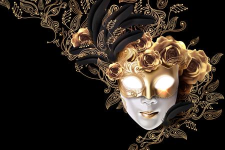 Diseño de máscara de carnaval con rosas doradas y garabatos de plantas de línea sobre fondo negro en ilustración 3d Ilustración de vector