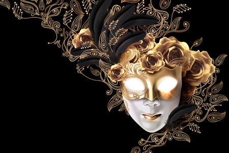 Carnival mask design with golden roses and line plants doodles on black background in 3d illustration