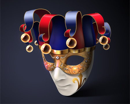 Clown mask design for carnival in 3d illustration Illustration