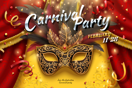 Carnival party design with masks and feathers in 3d illustration, confetti and streamers background Vectores