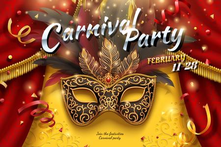Diseño de fiesta de carnaval con máscaras y plumas en ilustración 3d, fondo de confeti y serpentinas