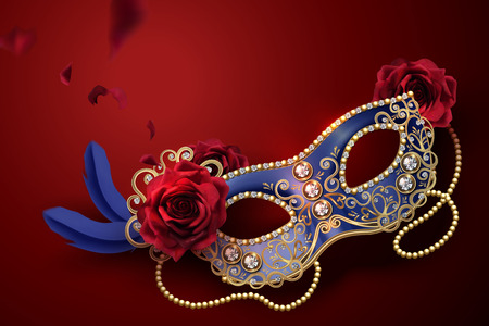 Blue carnival mask with diamonds and roses in 3d illustration on red background Ilustracja